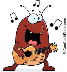 A cartoon illustration of a flea playing the ukulele.