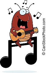 A cartoon illustration of a flea playing the ukulele on a musical note.
