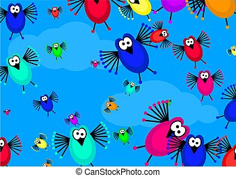 flock of birds - cartoon flock of birds flying in the sky...