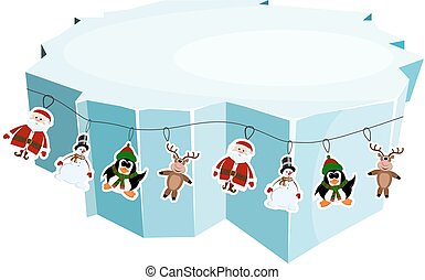 Cartoon floe. Vector illustration of an ice floe with festive garlands. Decorative lanterns, lights,