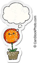 cartoon flower and thought bubble as a distressed worn sticker