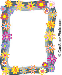 Cartoon Flower Border - A gray rainy border with colorful...