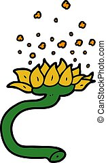 cartoon flower releasing pollen
