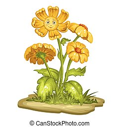 Cartoon flower with a smiling face