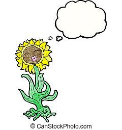 cartoon flower with face
