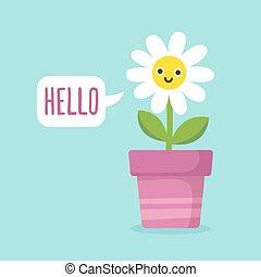 Cartoon flower with speech bubble