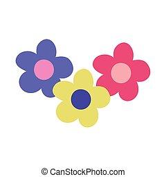 cartoon flowers decoration isolated design icon