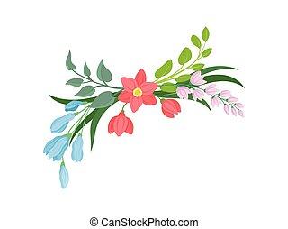 Cartoon flowers on white background. Vector illustration.