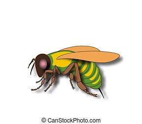 Cartoon fly, insect with bright colors. Housefly volume