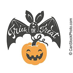 Cartoon flying bat with spread wings and Trick or Treat text written on it holding Halloween pumpkin lantern isolated on white background. Vector illustration for greeting card, party invitation.