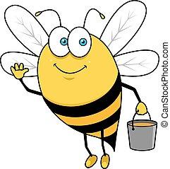 Cartoon flying bee with honey bucket waving hand