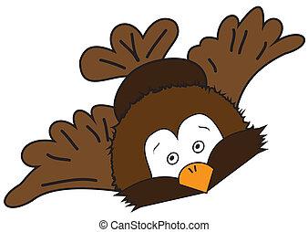 Cartoon flying bird - Cartoon illustration of a flying bird...