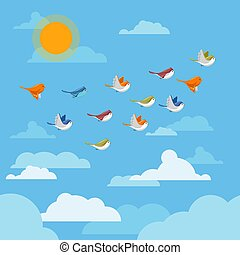 Cartoon flying birds in the sky with clouds and sun vector illustration