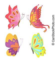 cartoon flying butterflies set isolated on white. vector illustration
