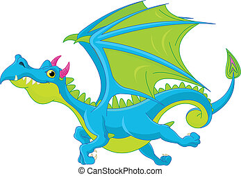 Cartoon flying dragon - Illustration of Cute Cartoon dragon ...