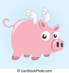 Cartoon flying pig