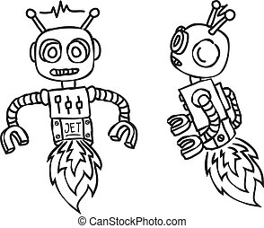 cartoon flying robot