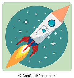 Cartoon Flying Rocket with Flames
