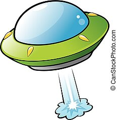 Vector illustration of a cartoon flying saucer. No radial gradient, transparency, gradient mesh. Created in Adobe Illustrator