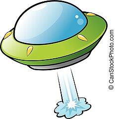 Cartoon Flying Saucer - Vector illustration of a cartoon...