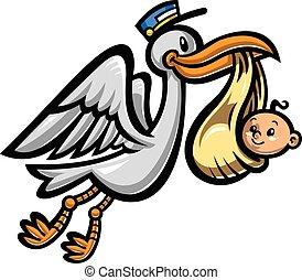 Cartoon Flying Stork Bird