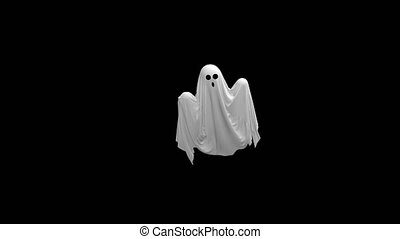 Cartoon Flying white Ghost with Alpha channel 4k