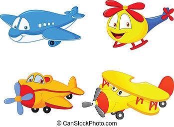 cartoon, flyvemaskine