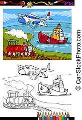 cartoon, flyvemaskine, tog, skib, coloring, side