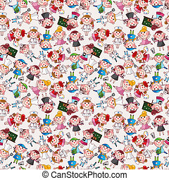 cartoon, folk, arbejde, seamless, mønster