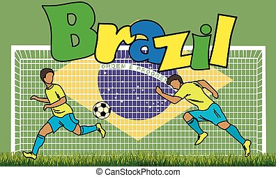 Cartoon football picture on the background of the Brazilian flag