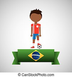 cartoon football player brazilian label