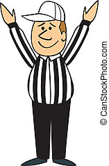 A cartoon football referee with his hands up signaling touchdown.