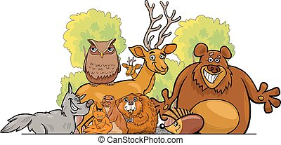 Cartoon forest animals group design