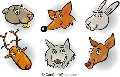 Cartoon forest animals heads set - Cartoon Illustration of ...