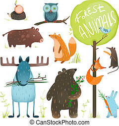 Cartoon Forest Animals Set - Brightly colored childish...