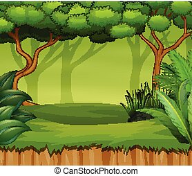 Cartoon forest landscape with plant and trees