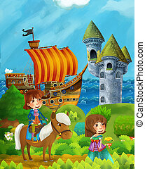 cartoon forest scene with prince and princess standing on path near the forest and sea shore and pirate ship is docked hidden and castle tower - illustration for children