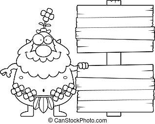 Cartoon Forest Sprite Sign - A cartoon illustration of a...