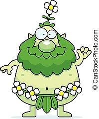 Cartoon Forest Sprite Waving - A cartoon illustration of a...