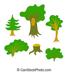 Cartoon forest tree, bush, stump set isolated on the white