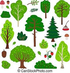 Cartoon forest tree set