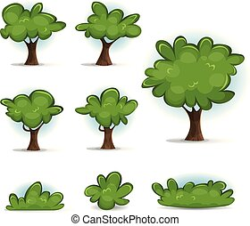 Cartoon Forest Trees, Bush And Hedges
