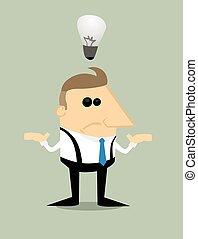 cartoon, forretningsmand, hos, nej, ide