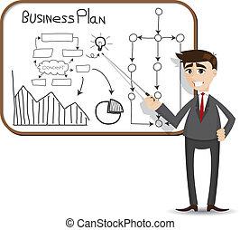 cartoon, forretningsmand, præsentation, hos, branche planlæg
