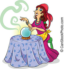 fortune teller - cartoon fortune teller with her crystal...