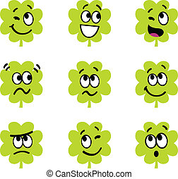 Cartoon four leaf clovers with facial expression isolate on...