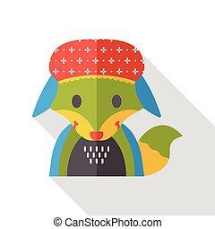 cartoon fox flat icon