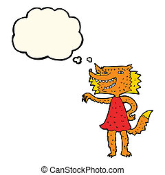 cartoon fox girl with thought bubble