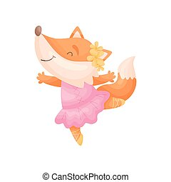 Cartoon fox in a pink dress ballerina. Vector illustration on white background.