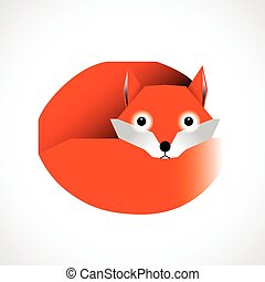 Cartoon fox isolated on white background